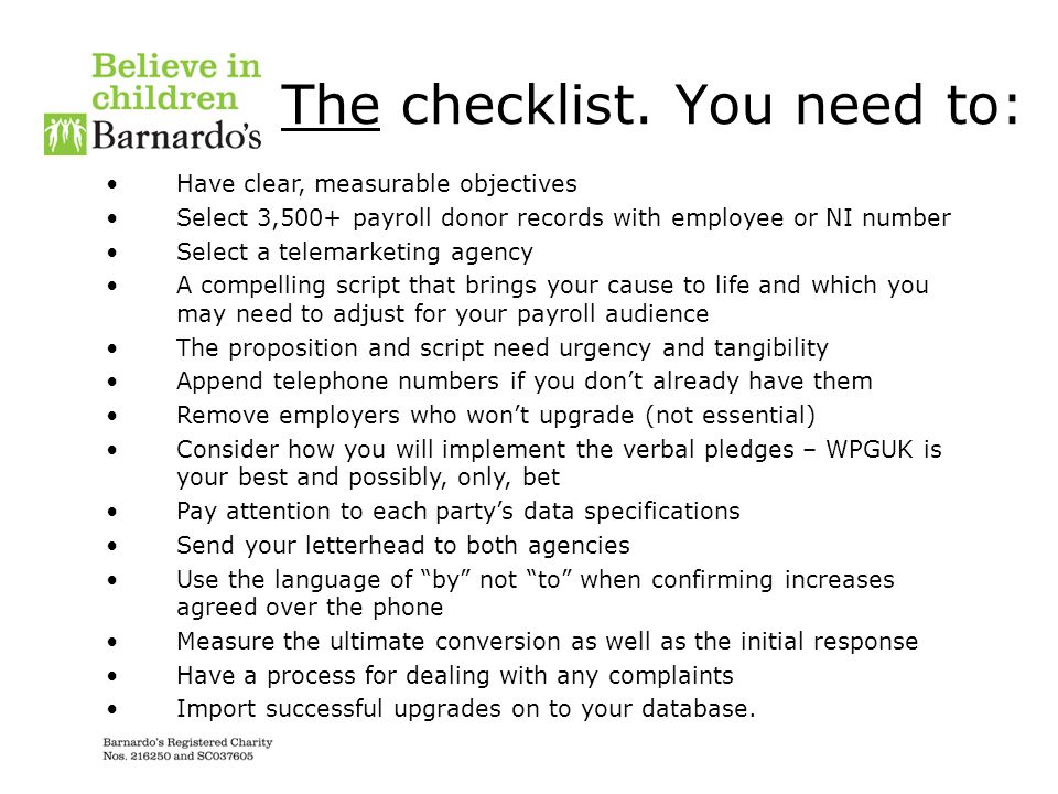 The checklist. You need to: