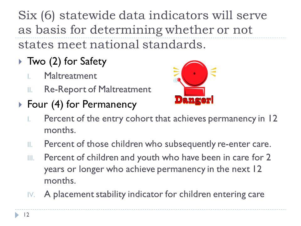 4/15/2017 Six (6) statewide data indicators will serve as basis for determining whether or not states meet national standards.