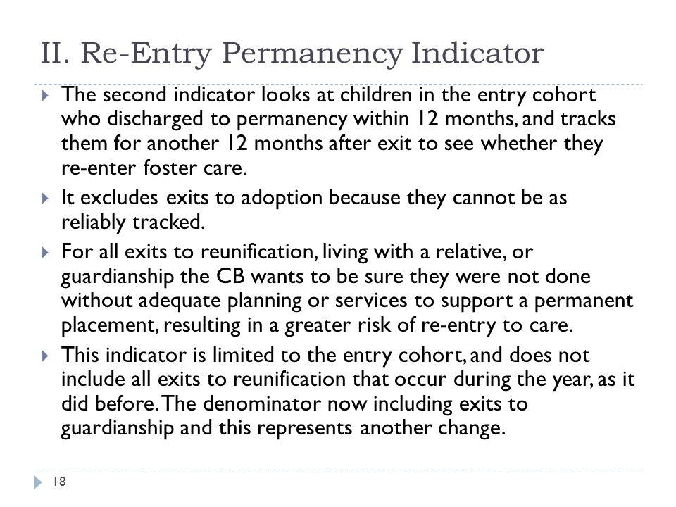II. Re-Entry Permanency Indicator