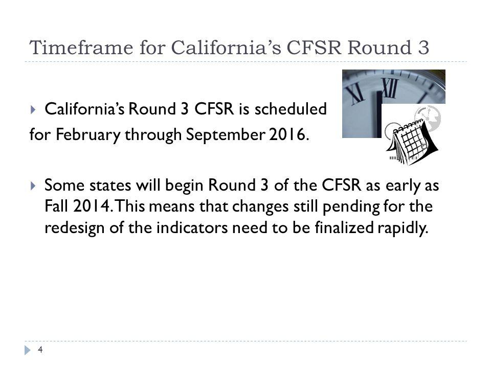 Timeframe for California's CFSR Round 3