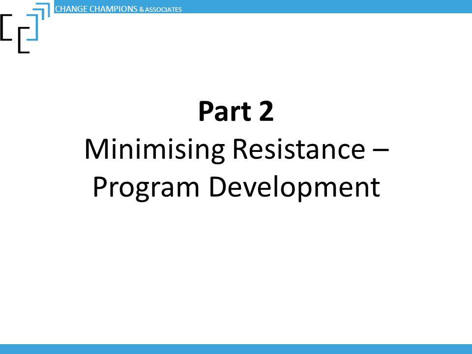 Part 2 Minimising Resistance – Program Development