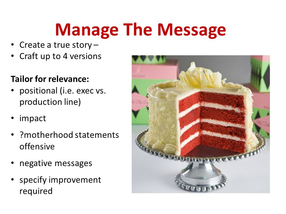 Manage The Message Create a true story – Craft up to 4 versions