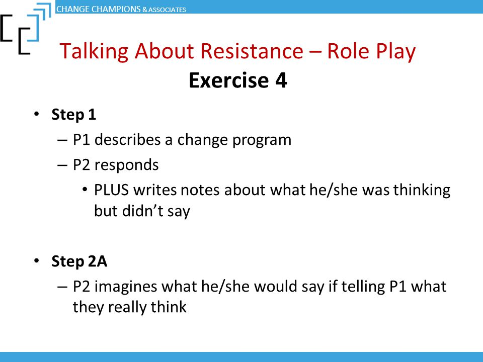 Talking About Resistance – Role Play Exercise 4