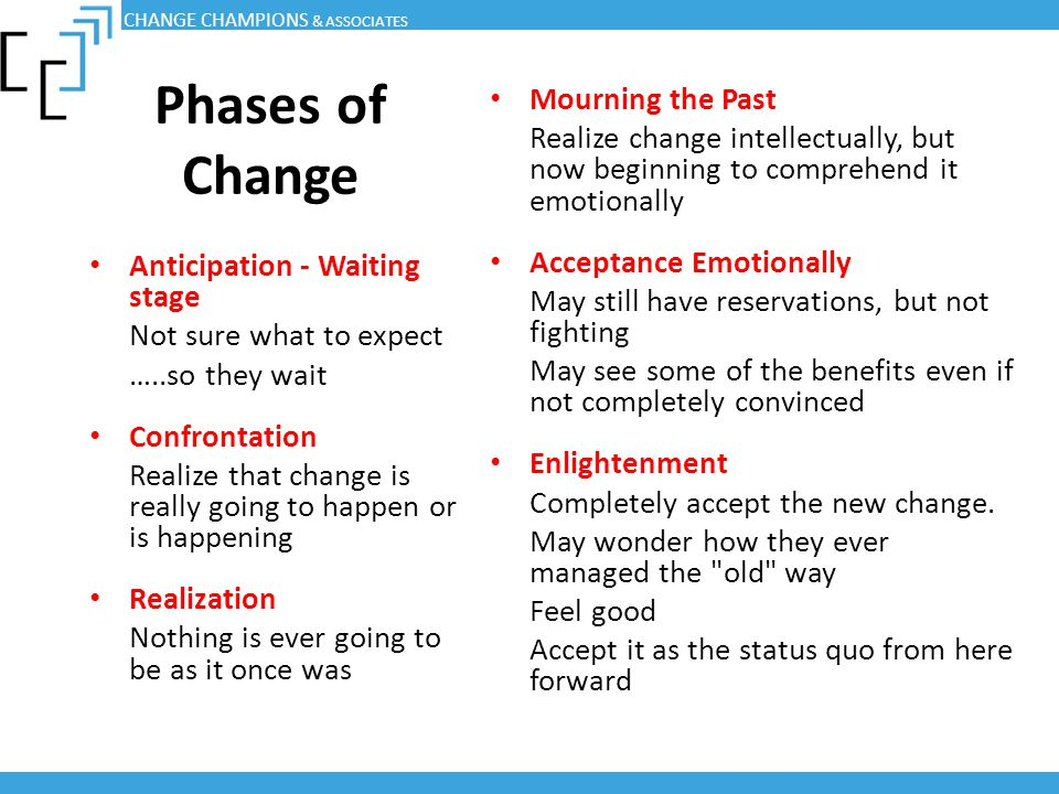 Phases of Change Mourning the Past