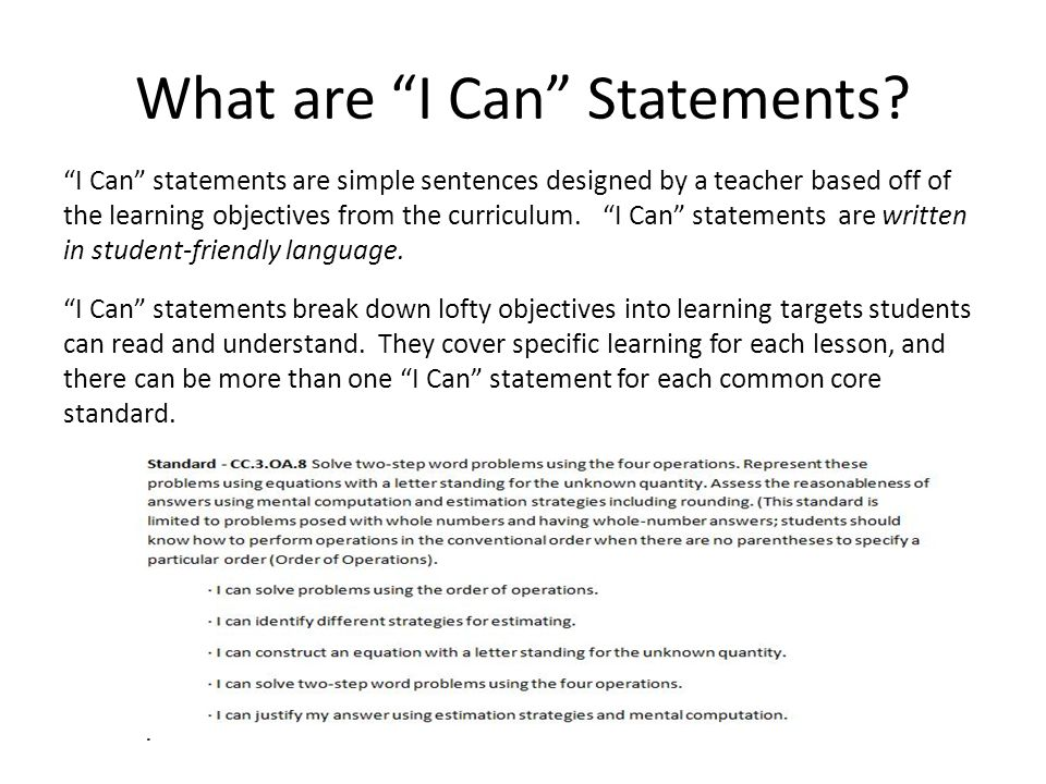 What are I Can Statements
