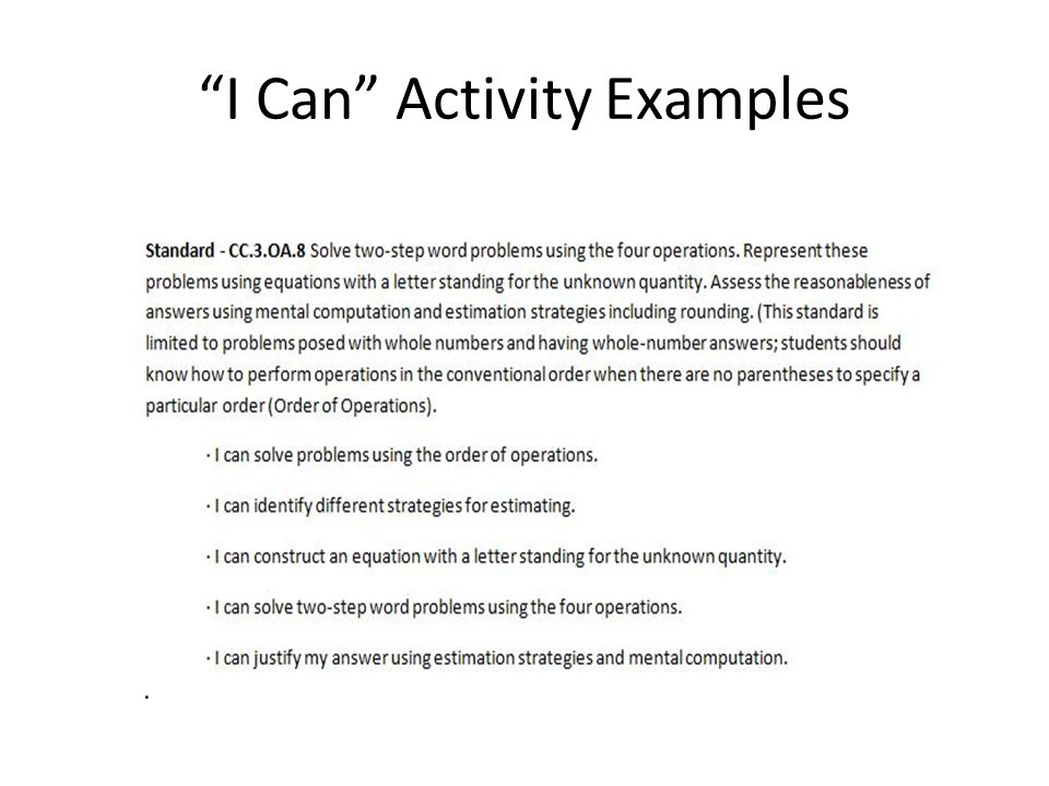 I Can Activity Examples