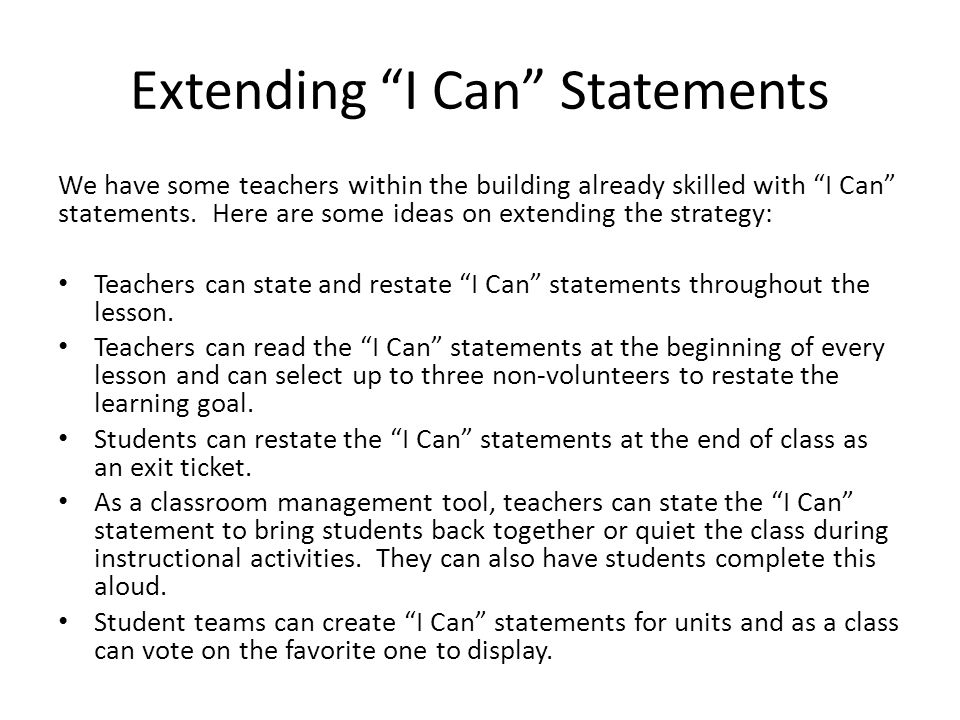 Extending I Can Statements
