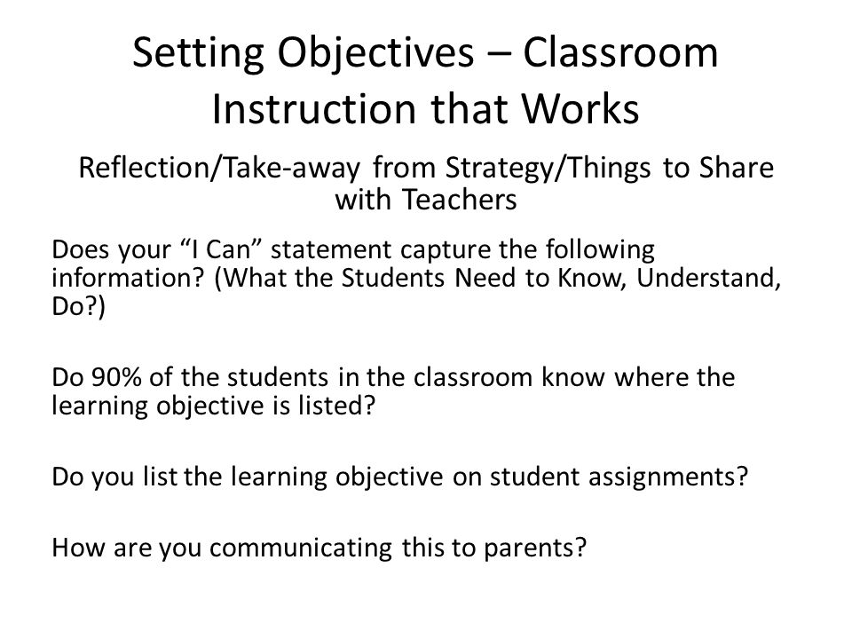 Setting Objectives – Classroom Instruction that Works