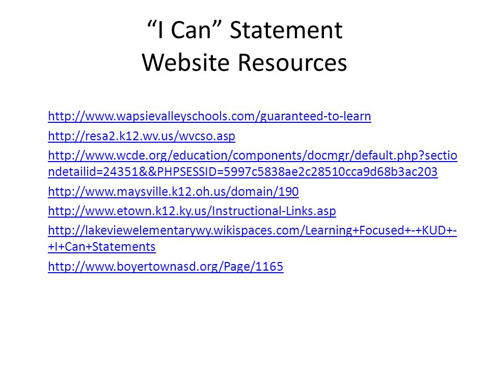 I Can Statement Website Resources