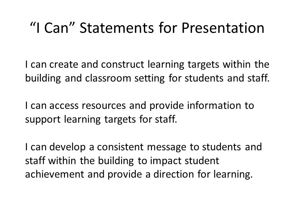 I Can Statements for Presentation