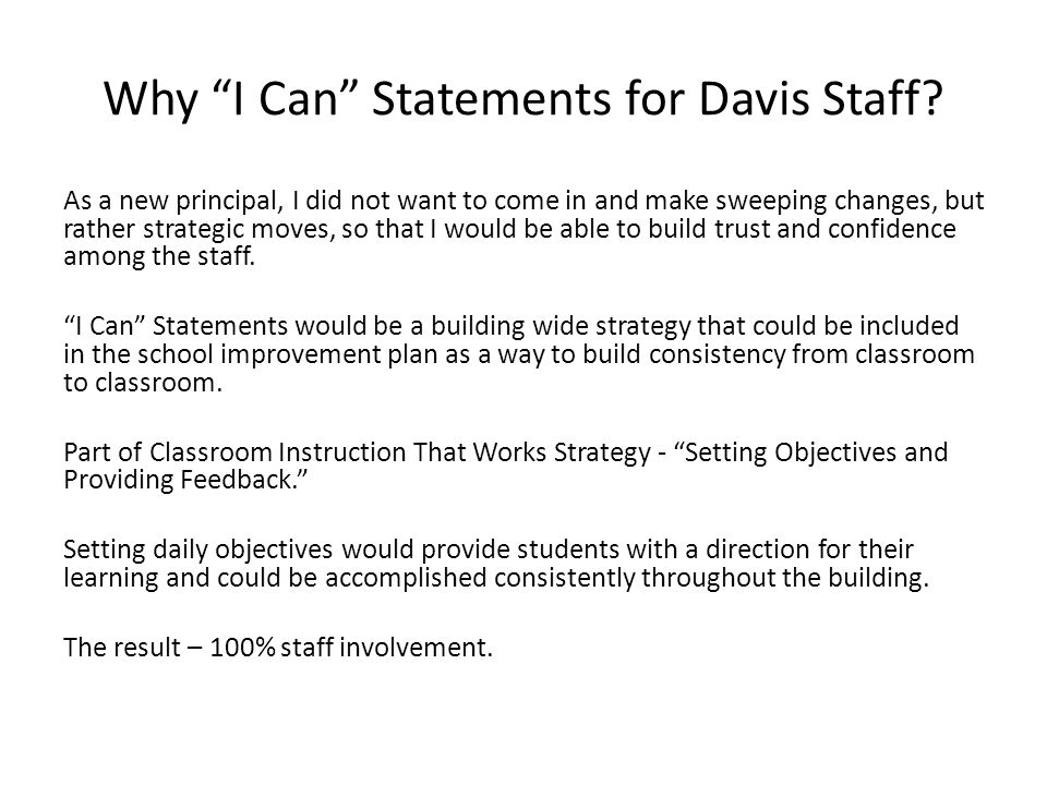 Why I Can Statements for Davis Staff