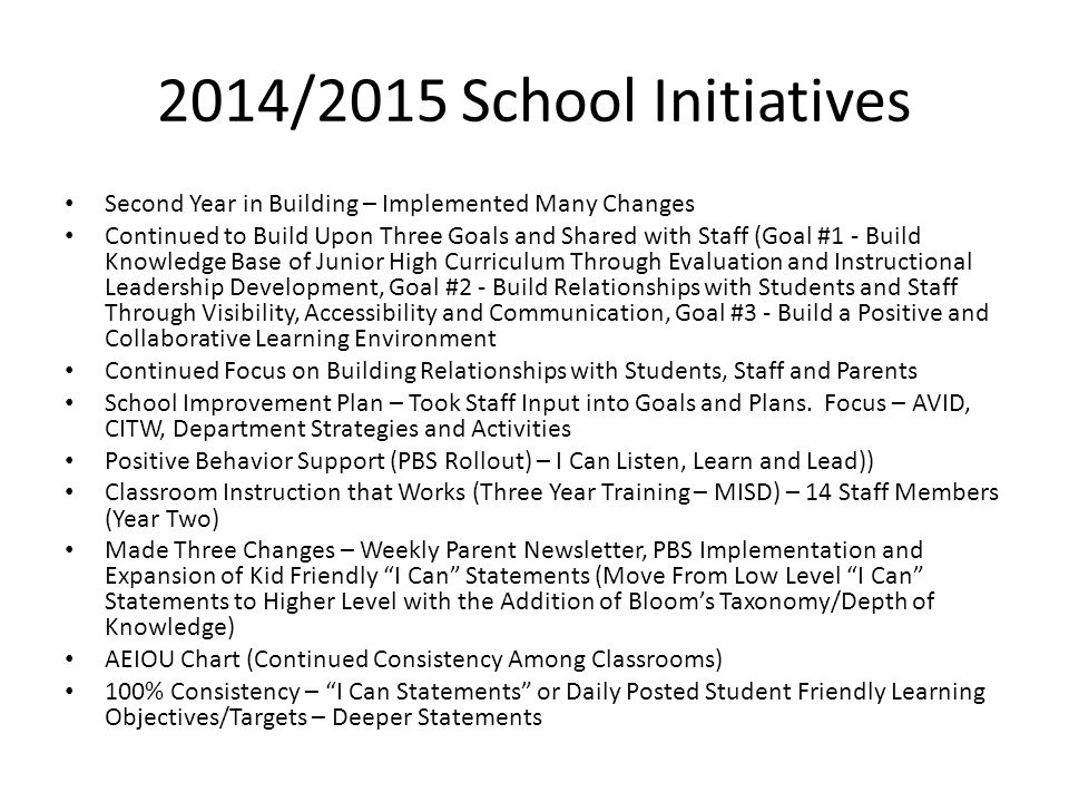 2014/2015 School Initiatives Second Year in Building – Implemented Many Changes.