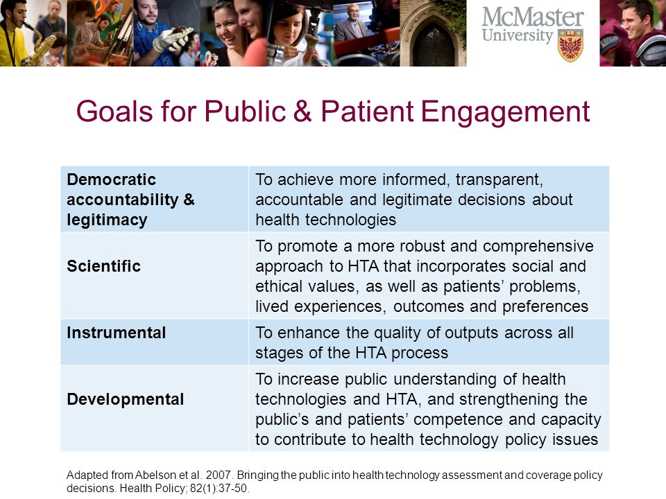 Goals for Public & Patient Engagement