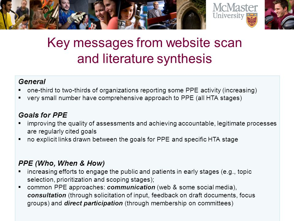 Key messages from website scan and literature synthesis