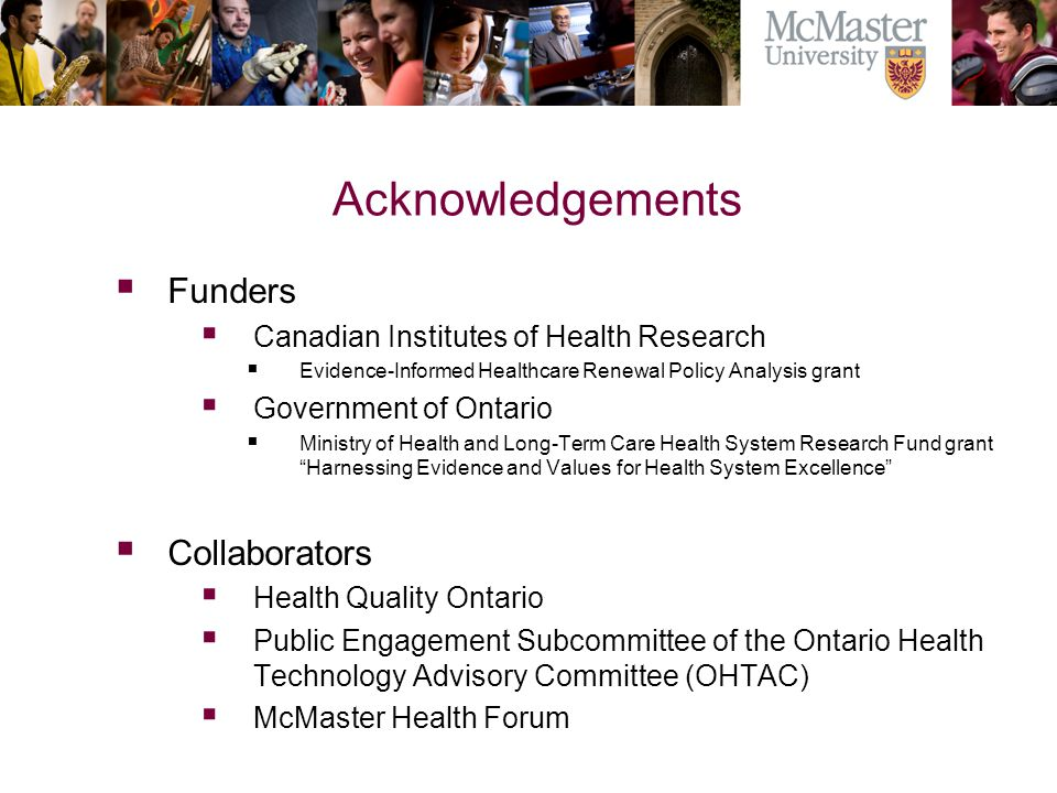Acknowledgements Funders Collaborators