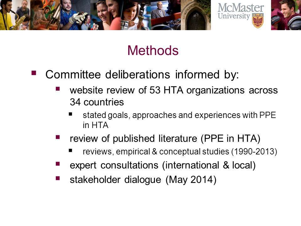 Methods Committee deliberations informed by: