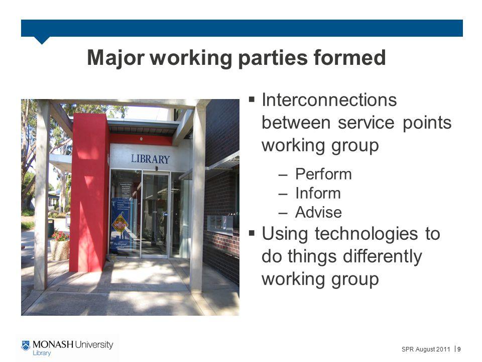 Major working parties formed