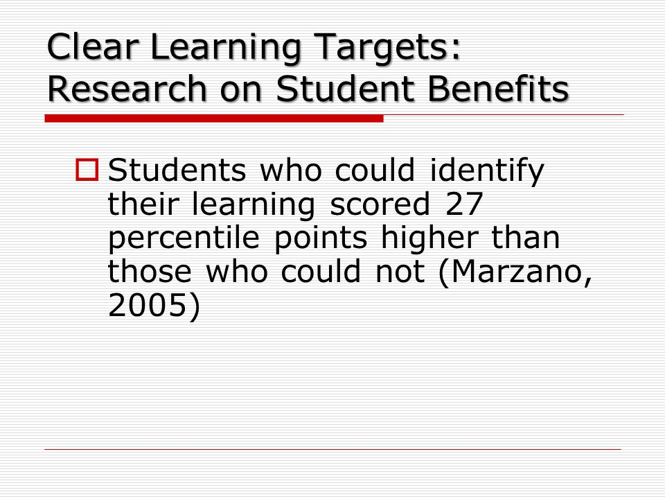 Clear Learning Targets: Research on Student Benefits