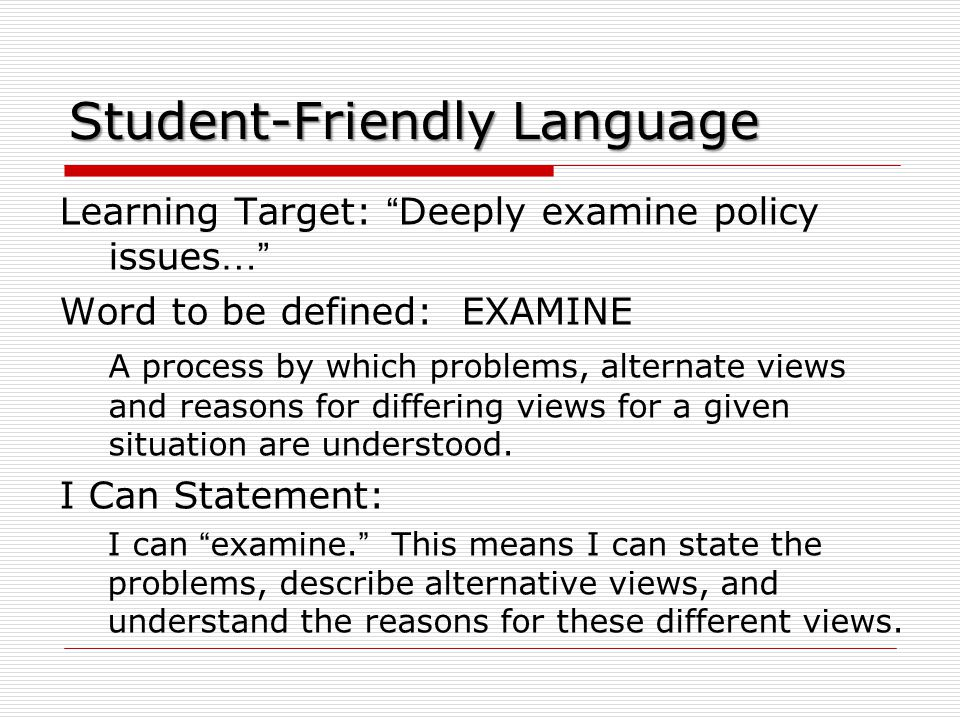 Student-Friendly Language