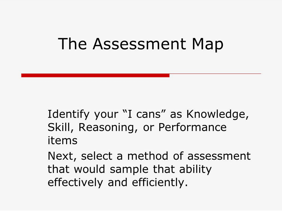 The Assessment Map Identify your I cans as Knowledge, Skill, Reasoning, or Performance items.