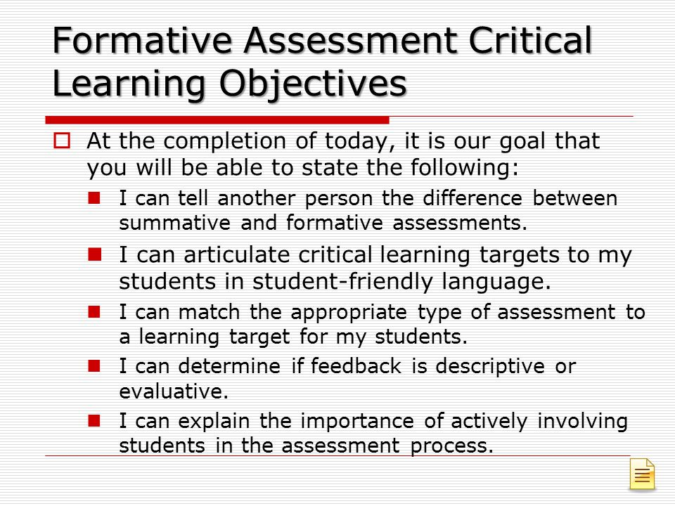 Formative Assessment Critical Learning Objectives
