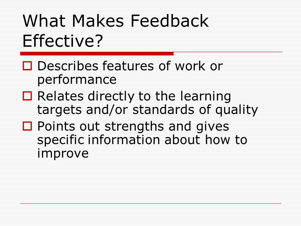 What Makes Feedback Effective