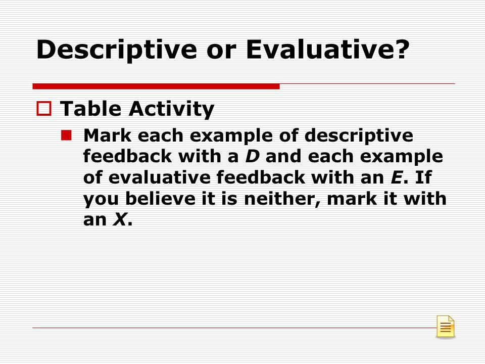 Descriptive or Evaluative