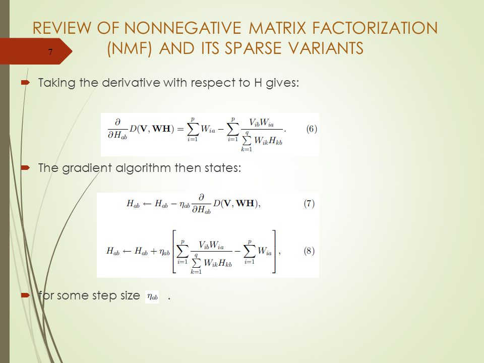 REVIEW OF NONNEGATIVE MATRIX FACTORIZATION (NMF) AND ITS SPARSE VARIANTS