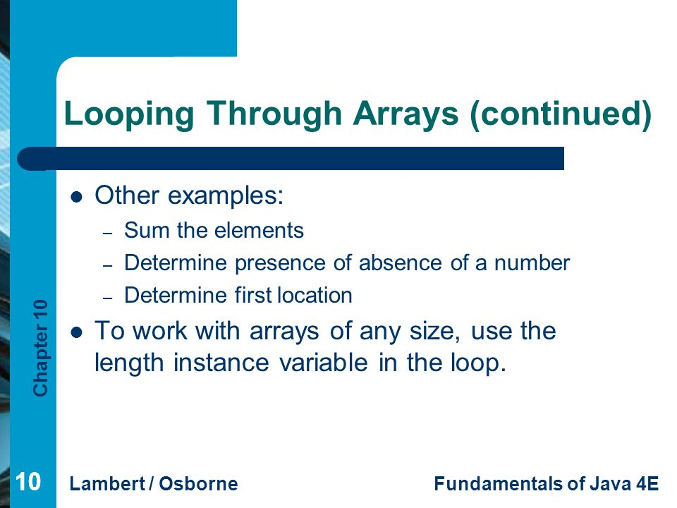 Looping Through Arrays (continued)