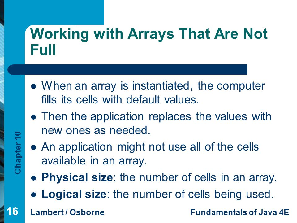 Working with Arrays That Are Not Full