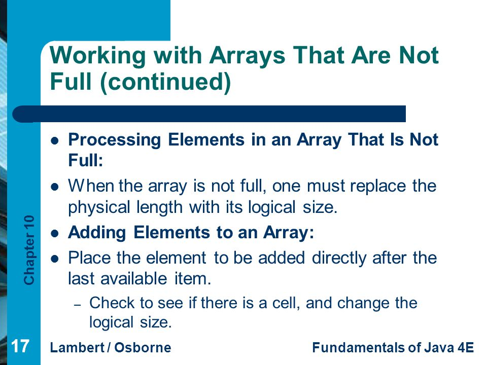 Working with Arrays That Are Not Full (continued)