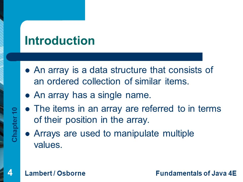 Introduction An array is a data structure that consists of an ordered collection of similar items. An array has a single name.