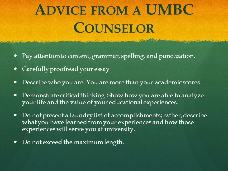 Advice from a UMBC Counselor