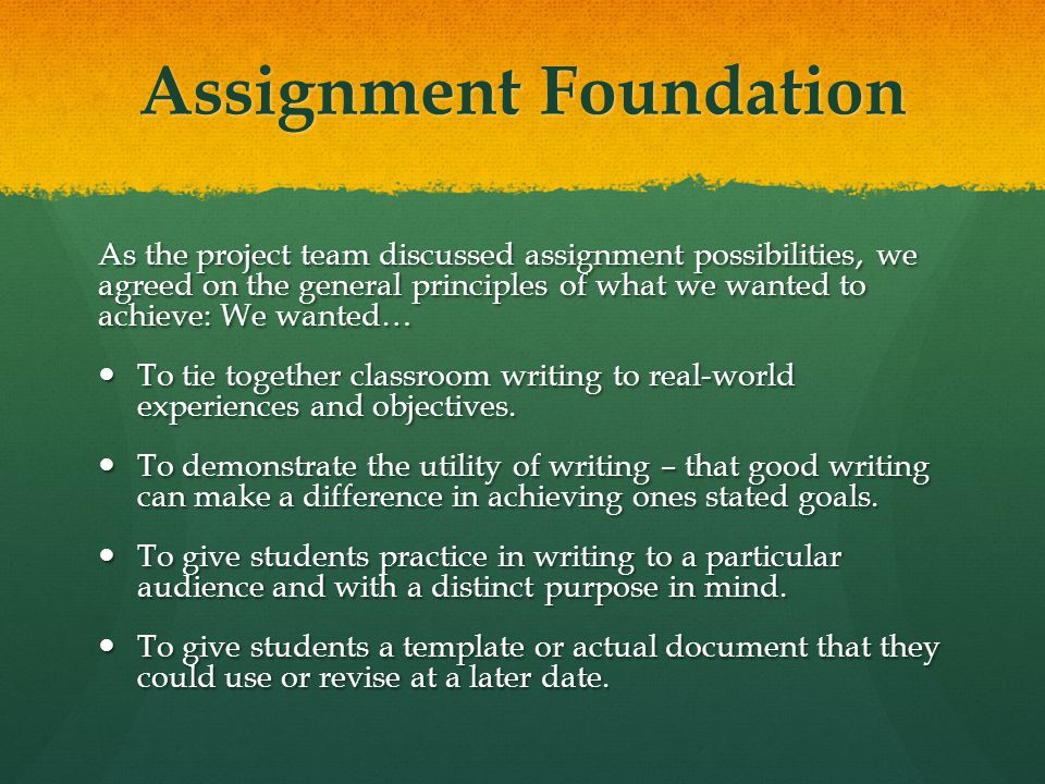 Assignment Foundation