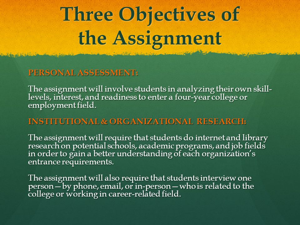 Three Objectives of the Assignment