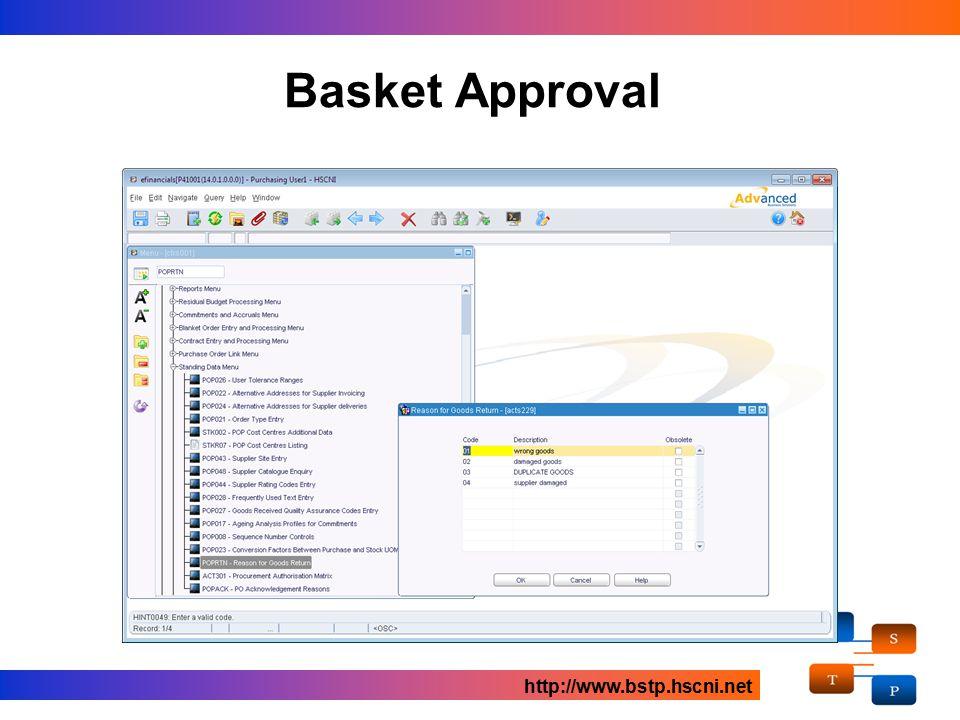 Basket Approval http://www.bstp.hscni.net