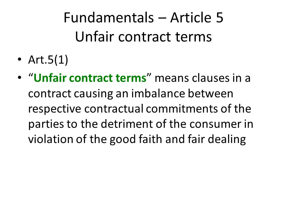 Fundamentals – Article 5 Unfair contract terms