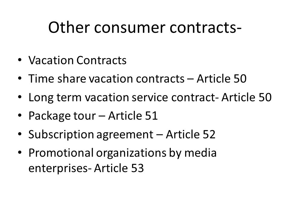 Other consumer contracts-