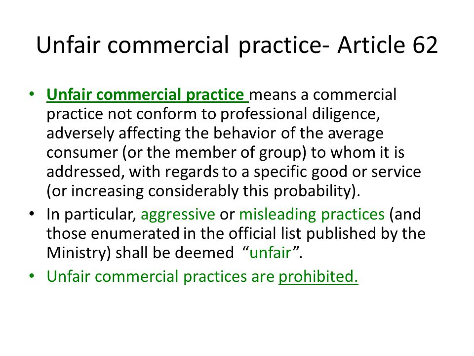 Unfair commercial practice- Article 62