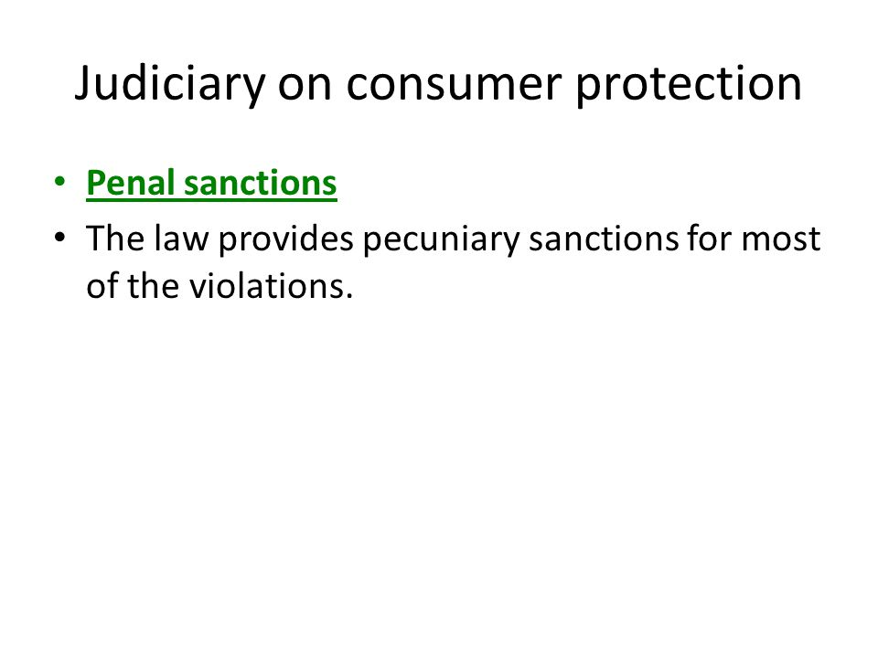Judiciary on consumer protection