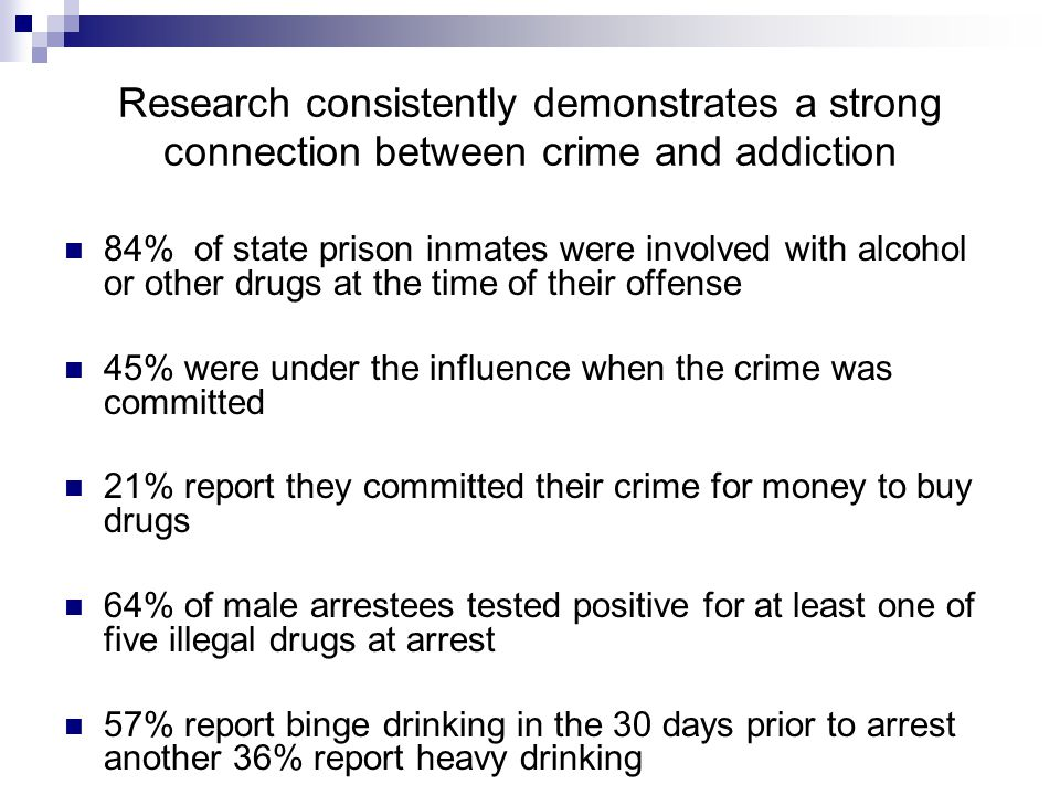 Research consistently demonstrates a strong connection between crime and addiction