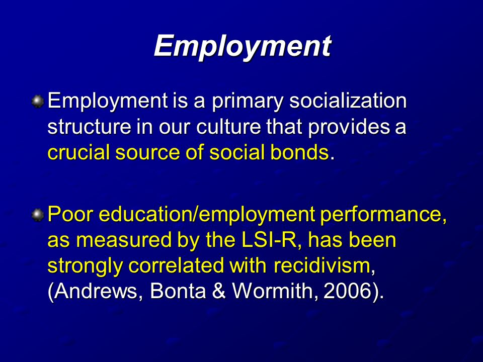 Employment Employment is a primary socialization structure in our culture that provides a crucial source of social bonds.
