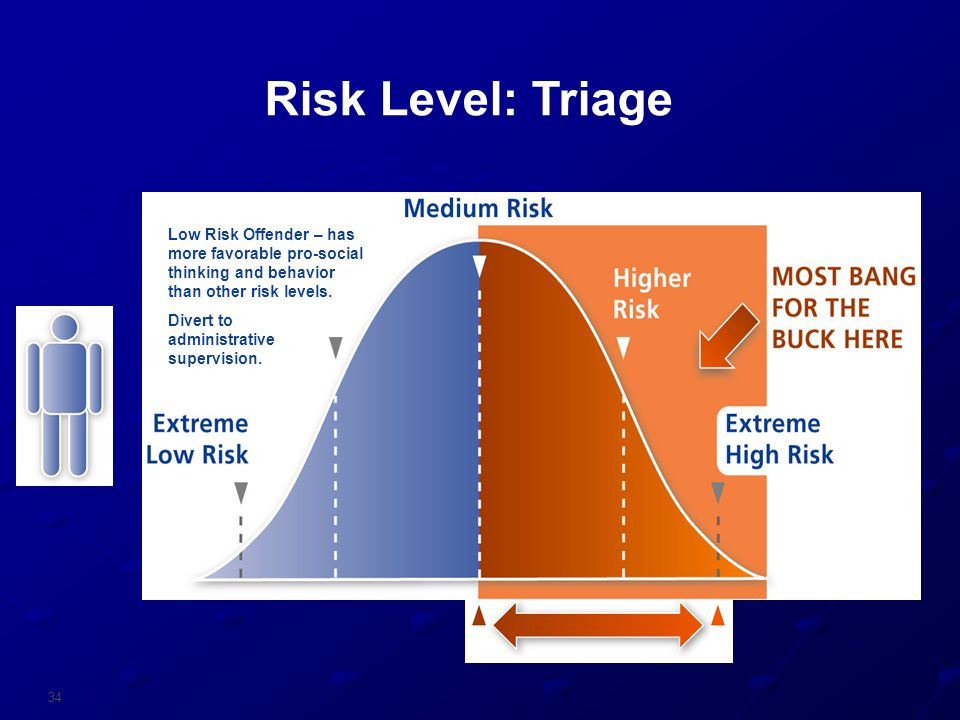 Risk Level: Triage Low Risk Offender – has more favorable pro-social thinking and behavior than other risk levels.