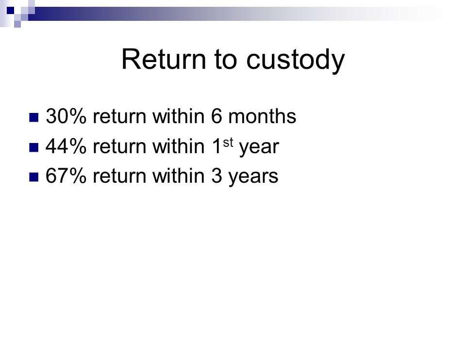 Return to custody 30% return within 6 months