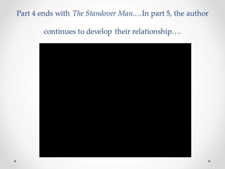 Part 4 ends with The Standover Man