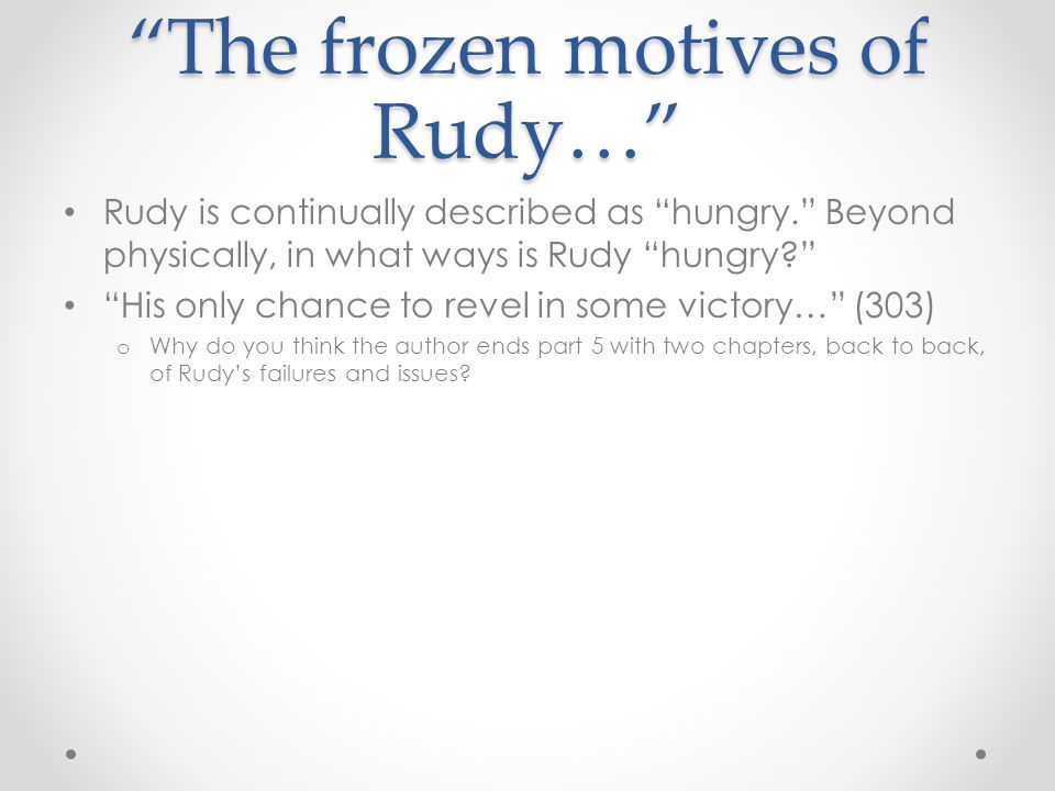 The frozen motives of Rudy…
