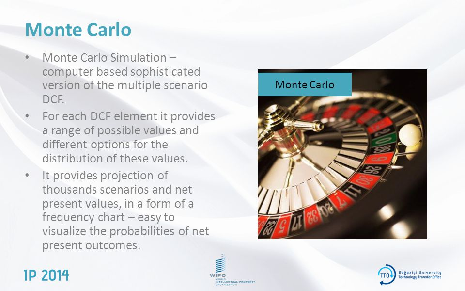 Monte Carlo Monte Carlo Simulation – computer based sophisticated version of the multiple scenario DCF.