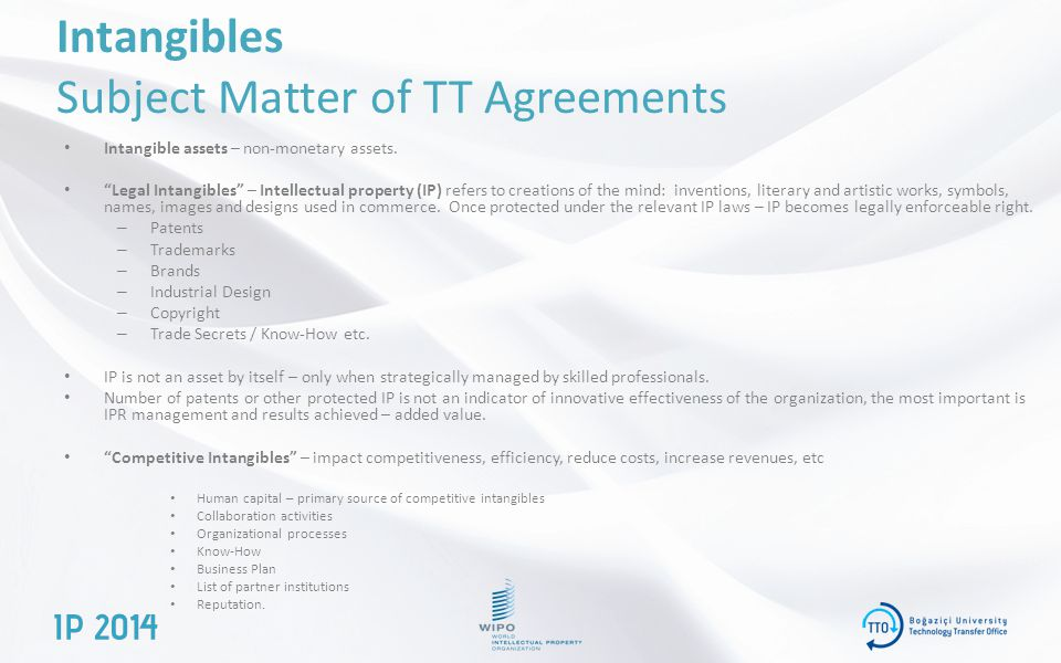 Intangibles Subject Matter of TT Agreements