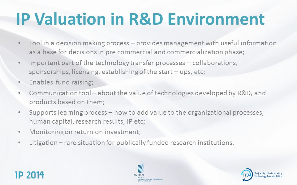 IP Valuation in R&D Environment