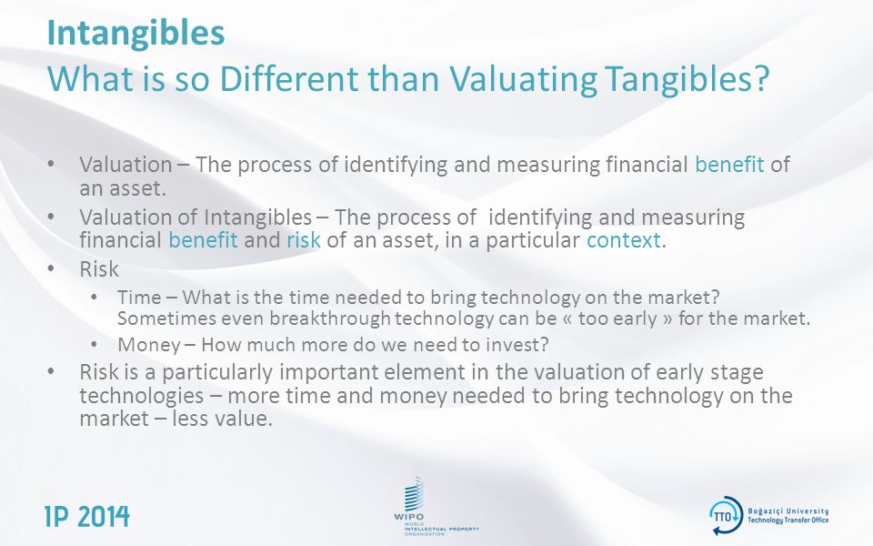 Intangibles What is so Different than Valuating Tangibles